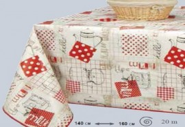 NAPPE EN TOILE CIREE FERME ROUGE 160 CM DE LARGE