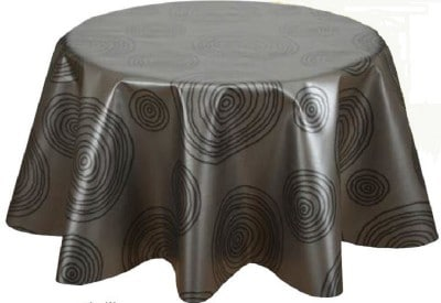 nappe ronde diam tre 160 de couleur grise avec motifs. Black Bedroom Furniture Sets. Home Design Ideas