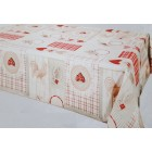 NAPPE PROTEGE TABLE 140 CM POULES ROUGE