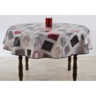 NAPPE RONDE EN TOILE CIREE DIAMETRE 160CM TAPIES ROUGE