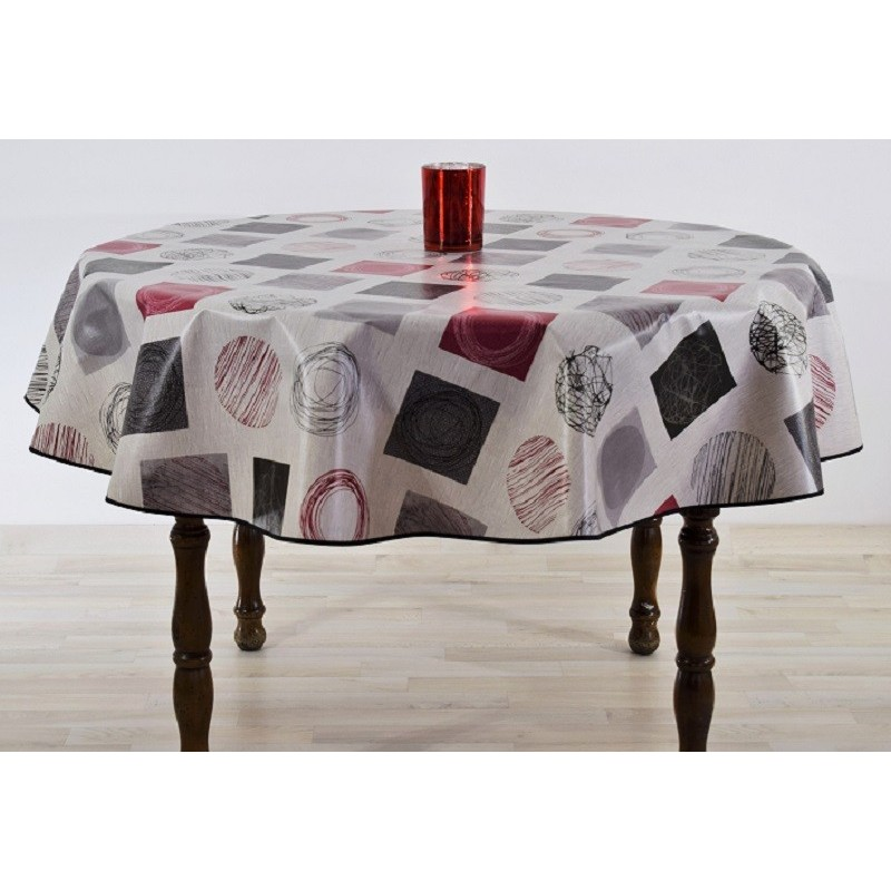 nappe ronde en toile cir e tapis rouge motifs gris noir bordeau. Black Bedroom Furniture Sets. Home Design Ideas