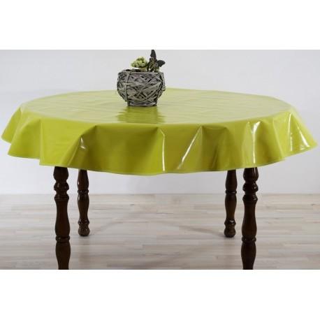 nappe ronde diam tre 160 de couleur vert anis toile cir e anti t che. Black Bedroom Furniture Sets. Home Design Ideas