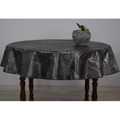 nappe ronde diam tre 160 motif de fleurs sur fond gris anti t che. Black Bedroom Furniture Sets. Home Design Ideas