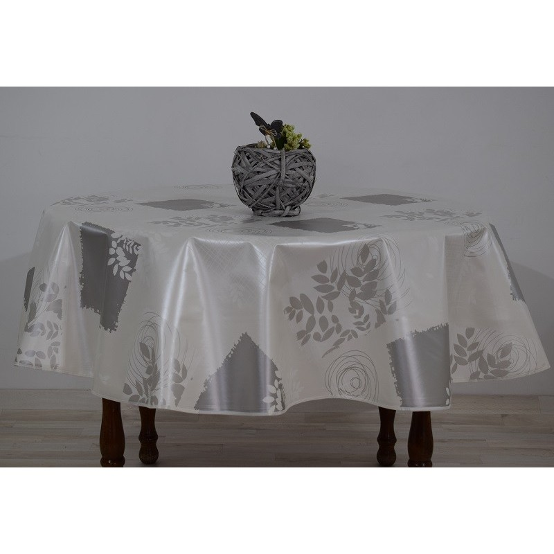 nappe ronde diam tre 160 de couleur blanche avec motif gris anti t che. Black Bedroom Furniture Sets. Home Design Ideas