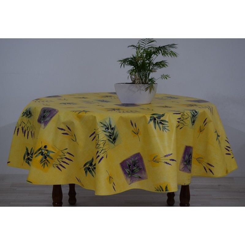 nappe ronde en toile cir e jaune provence grande largeur 180cm. Black Bedroom Furniture Sets. Home Design Ideas