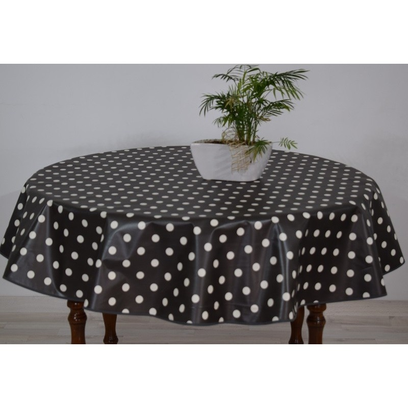 nappe grise a pois blanc 13 nappe en toile ciree ronde anis a pois blanc diametre 160. Black Bedroom Furniture Sets. Home Design Ideas