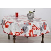 NAPPE EN TOILE CIREE OVALE POPPIES 155 x 230 cm