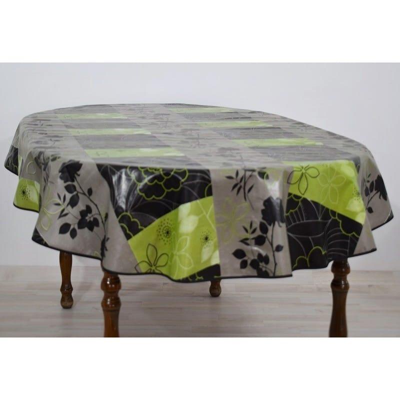 nappe en toile cir e ovale fonds gris et noir avec de jolies fleurs. Black Bedroom Furniture Sets. Home Design Ideas