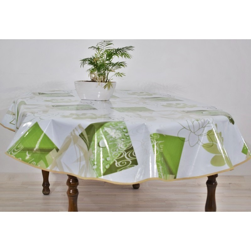 nappe en toile cir e ovale laqu e blanc motifs vert lumineuse. Black Bedroom Furniture Sets. Home Design Ideas