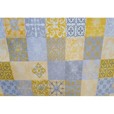 NAPPE ENDUITE tissu enduit carreaux ciment jaune et gris 140 cm