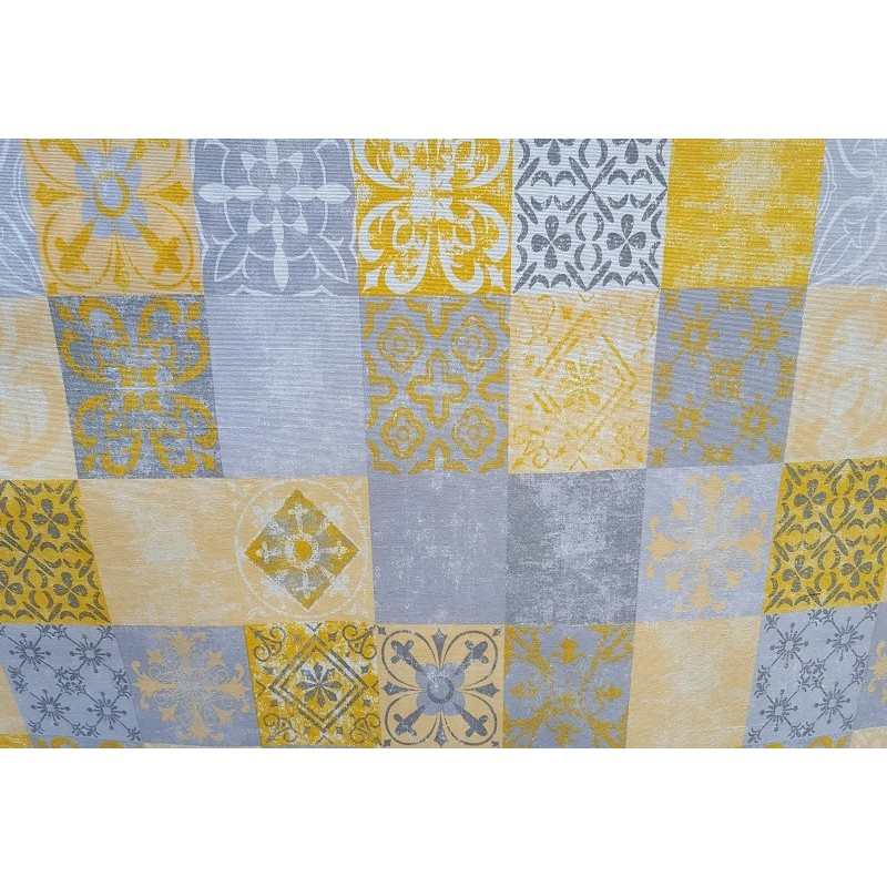 Nappe en coton enduit de qualit antitache carreaux ciment jaune gris - Nappe carreaux de ciment ...