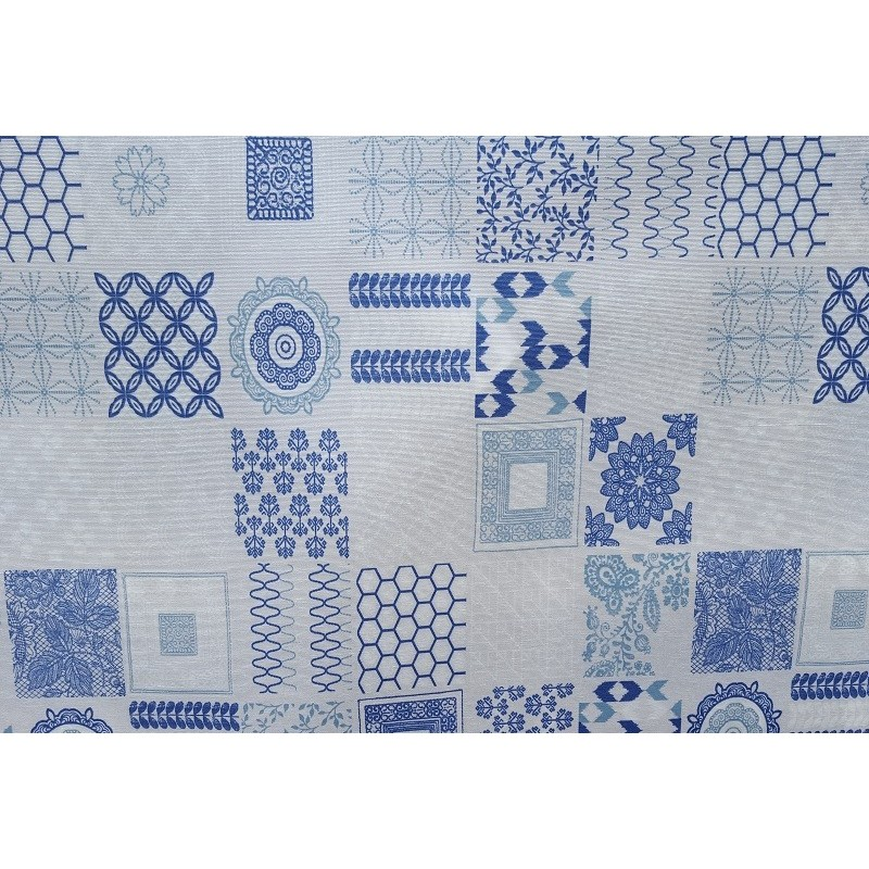 Nappe en coton enduit de qualit antitache carreaux ciment bleu - Nappe carreaux de ciment ...