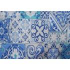 NAPPE ENDUITE tissu enduit carreaux ciment bleu 140 cm