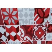 NAPPE EN TOILE CIREE 140 CARREAUX CIMENT ROUGE