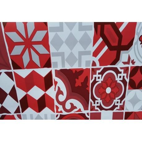 nappe en toile cir e carreaux ciment rouge 140 cm de large. Black Bedroom Furniture Sets. Home Design Ideas