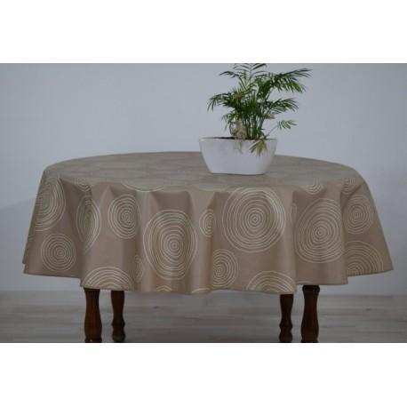 nappe ronde en toile cir e couleur cirelli taupe grande largeur 180cm. Black Bedroom Furniture Sets. Home Design Ideas