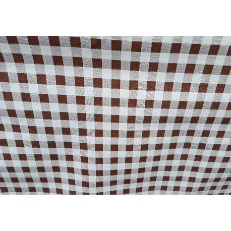 NAPPE 140 CM DE LARGE EN TOILE CIREE VICHY MARRONS