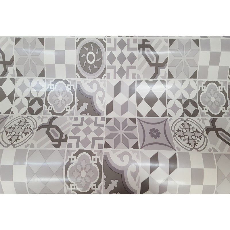 nappe en toile cir e carreaux ciment grise 140 cm de large