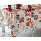 NAPPE TOILE CIREE POPPY 160 cm de large COQUELICOT RONDE OVALE RECTANGLE CARREE