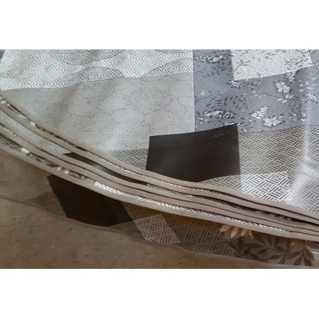 NAPPE RONDE 175 CM FIGEAC TAUPE EN TOILE CIREE