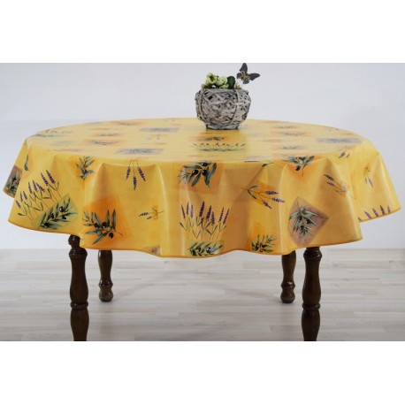 NAPPE EN TOILE CIREE RONDE FREJUS ORANGE DIAMETRE 180 CM