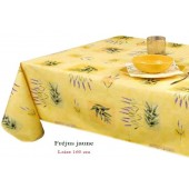 NAPPE EN TOILE CIREE FREJUS JAUNE-180CM DE LARGE SUR MESURE CARRE OVALE RECTANGLE RONDE