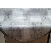 NAPPE EN TOILE CIREE RONDE LOVE GRISE DIAMETRE 160