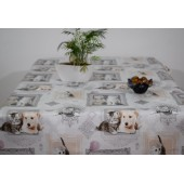 ROULEAU DE NAPPE TOILE CIREE MIMI GRIS CHATS CHATONS CHIOTS CHIENS