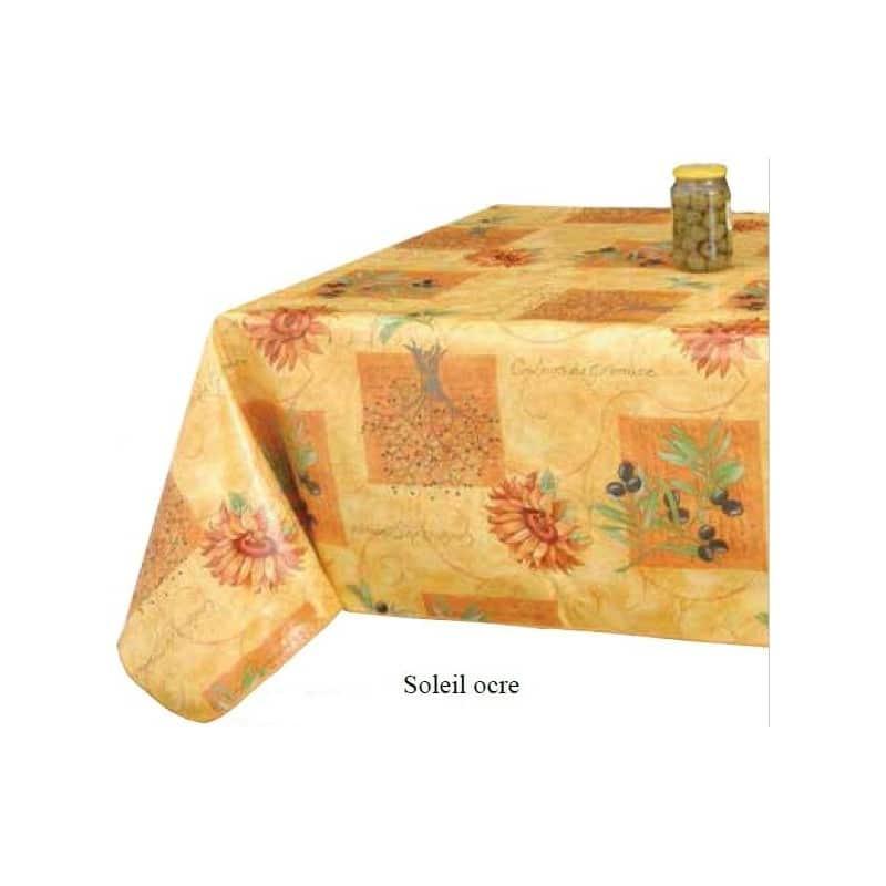 Protège-table de qualitè au motif de provence couleur ocre anti-tâche