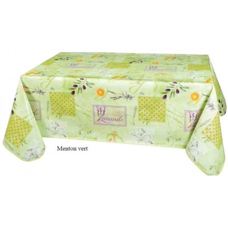 nappe en toile cir menton vert p le antit che jolie tables provence. Black Bedroom Furniture Sets. Home Design Ideas
