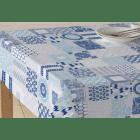 NAPPE ENDUITE tissu enduit BAMAKO carreaux ciment bleu 140 cm