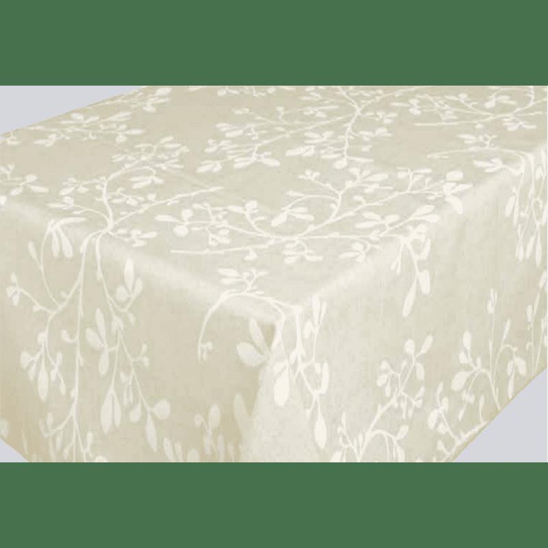 nappe en coton enduit 160 cm de large feuille blanche. Black Bedroom Furniture Sets. Home Design Ideas