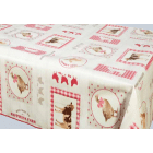 NAPPE EN TOILE CIREE SIDONIE ROUGE 160 CM DE LARGE