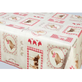 NAPPE EN TOILE CIREE SIDONIE ROUGE 140 CM DE LARGE