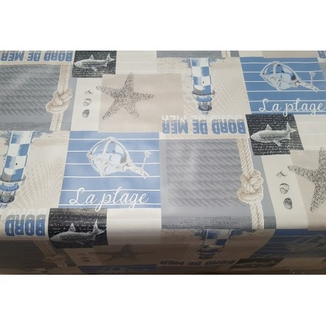 NAPPE EN TOILE CIREE PHARE BLEU EN 160 CM DE LARGE