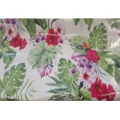 NAPPE EN TOILE CIREE JUNGLE BLANC LAQUEE EN 140 CM DE LARGE