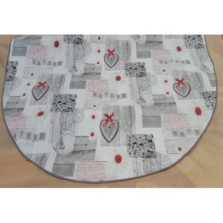 ART2LATABLE NAPPE OVALE 150X230 CM TOILE CIREE FAMILY COEUR
