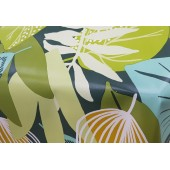 NAPPE EN TOILE CIREE WELCOME TO THE JUNGLE VERT  140 CM DE LARGE