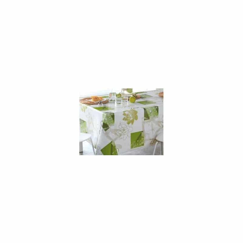 nappe en toile cir e largeur 160 cm fleurs vert blanc motifs zen. Black Bedroom Furniture Sets. Home Design Ideas