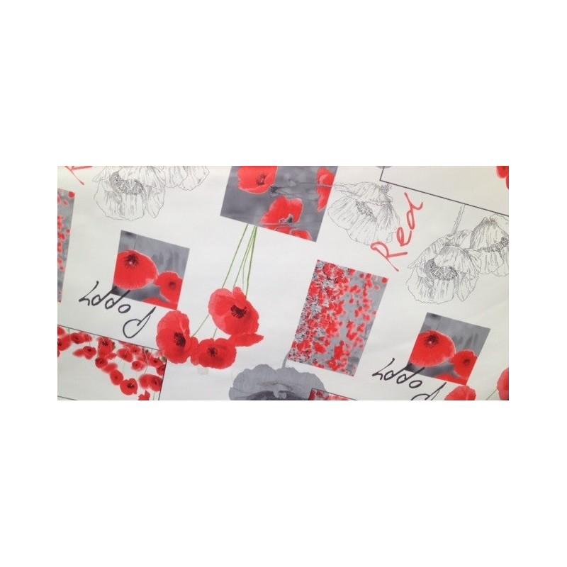 nappe en toile cir e blanc jolis coquelicots cm de large. Black Bedroom Furniture Sets. Home Design Ideas