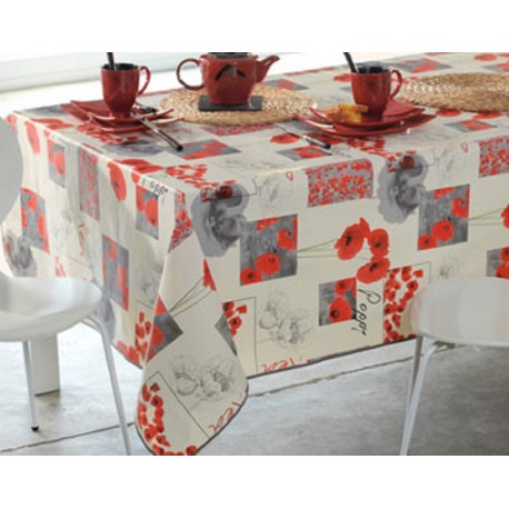 NAPPE TOILE CIREE COQUELICOT POPPY RONDE OVALE RECTANGLE CARREE