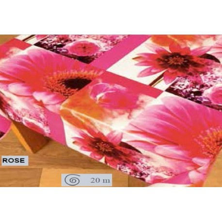 NAPPE TOILE CIREE FLEUR ROSE RONDE OVALE RECTANGLE CARRE