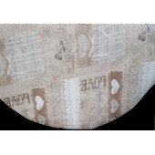 NAPPE EN TOILE CIREE RONDE LOVE BEIGE DIAMETRE 160