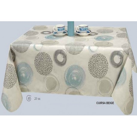 NAPPE PROTEGE TABLE  CUIRSA RONDE OVALE RECTANGLE BEIGE