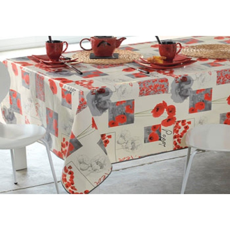 prot ge table de qualit au motif coquelicot sur fond blanc bulgomme. Black Bedroom Furniture Sets. Home Design Ideas