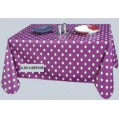 NAPPE TOILE CIREE ALINE AUBERGINE A POIS BLANC RONDE OVALE RECTANGLE CARREE