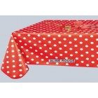 NAPPE TOILE CIREE ROUGE à POIS BLANC ALINE ROUGE NAPPE TOILE CIREE ROUGE à POIS BLANC RONDE OVALE RECTANGLE CARREE