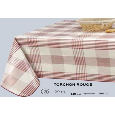 NAPPE TOILE CIREE TORCHON CARREAUX ROUGE ROND OVALE RECTANGLE OVALE