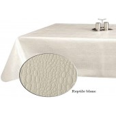 NAPPE TOILE CIREE REPTILE BLANC RONDE OVALE RECTANGLE CARREE