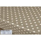 NAPPE EN TOILE CIREE 140 CM TAUPE A POIS BLANCS